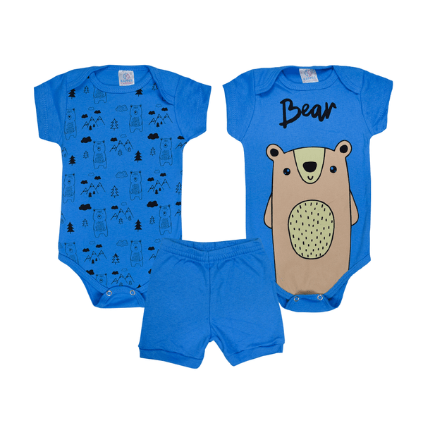 kit body bebe 3 pecas pagao urso royal vestir com amor
