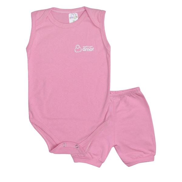conjunto bebe body e shorts pagao envelope rosa dino kids