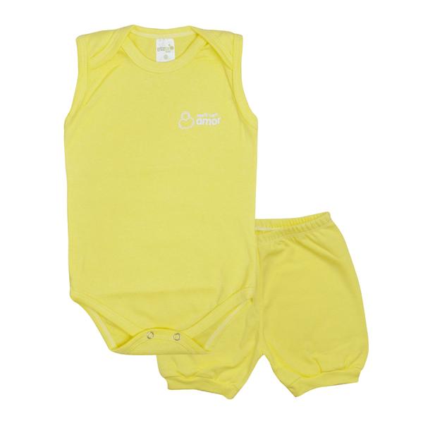 conjunto bebe body e shorts pagao envelope amarelo dino kids