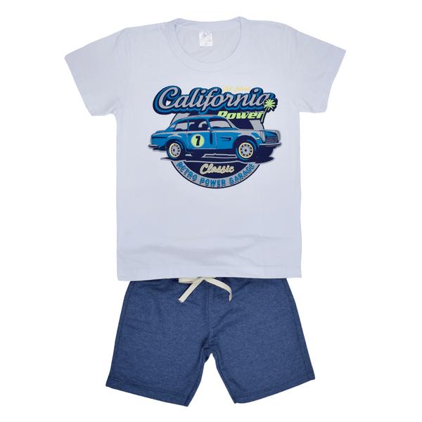 conjunto infantil camisa e bermuda branco e marinho california c canaa