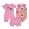 kit banho de sol bebe 3 pecas pagao frutas rosa dino kids