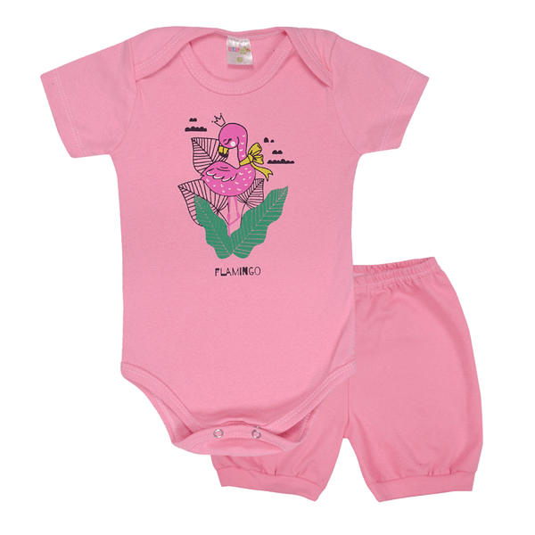 conjunto bebe body e shorts pagao envelope flamingo rosa dino kids