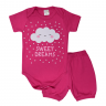 conjunto bebe body e shorts pagao envelope nuvem pink dino kids