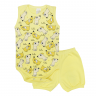 conjunto bebe body e shorts pagao envelope dog amarelo dino kids