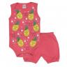 conjunto bebe body e shorts pagao envelope abacaxi coral dino kids