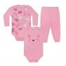 kit body bebe 3 pecas pagao gatinho rosa vestir com amor