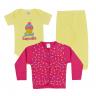 kit body bebe 3 pecas pagao sweet cupcake amarelo e pink vestir com amor