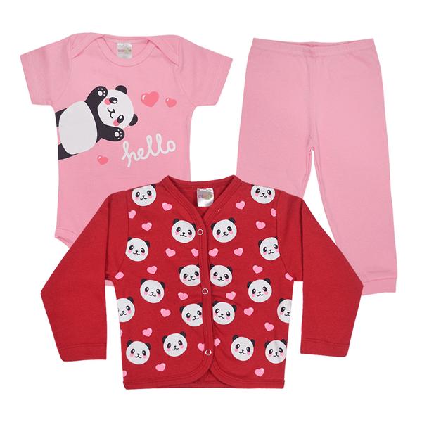 kit infantil 3 pecas pagao panda rosa e vermelho vestir com amor