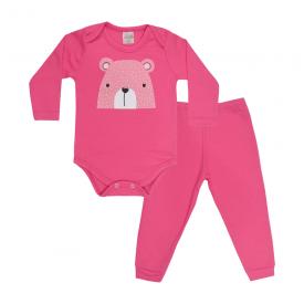 conjunto bebe body e calca pagao envelope urso chiclete vestir com amor