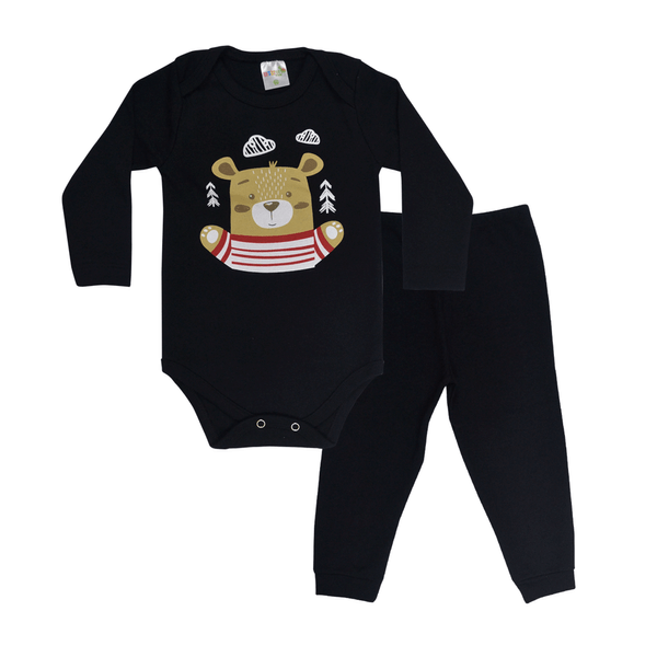 conjunto bebe body e calca pagao envelope urso preto vestir com amor