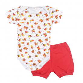 conjunto bebe body e shorts pagao envelope abelha vermelho dino kids