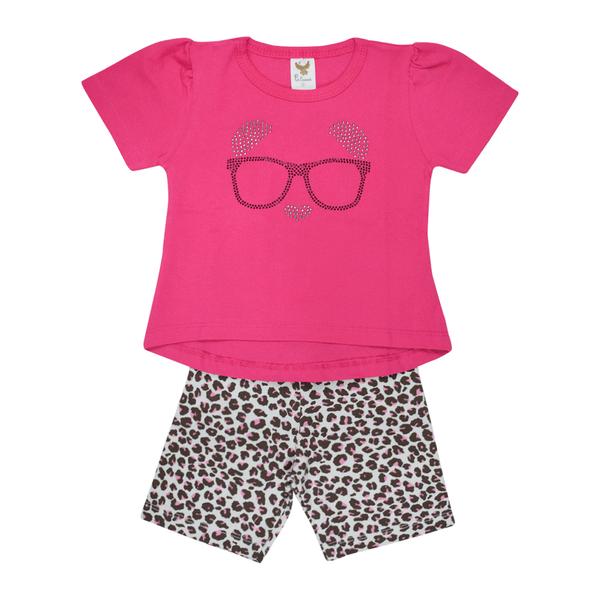 conjunto bebe camiseta e shorts dog pink c canaa