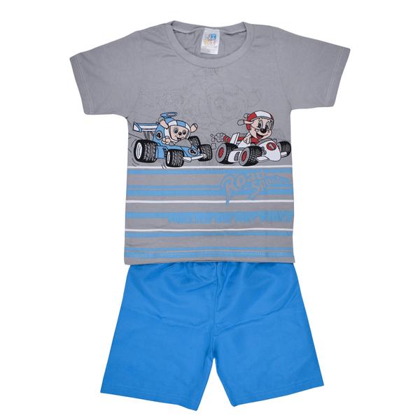 conjunto infantil camisa e bermuda cinza e azul jidi