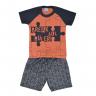 conjunto infantil camisa e bermuda laranja e chumbo wilbertex