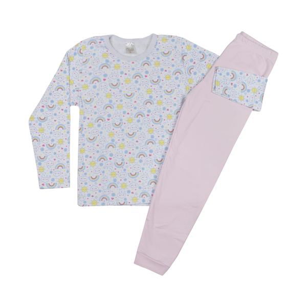 conjunto infantil blusa e calca suedine nuvem rosa c canaa