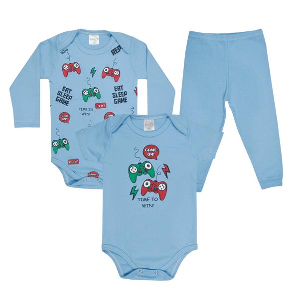 kit body bebe 3 pecas pagao games azul vestir com amor