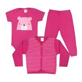kit body bebe 3 pecas pagao urso pink dino kids