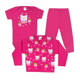 kit infantil 3 pecas pagao morango pink vestir com amor
