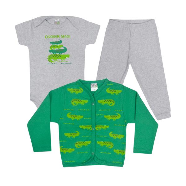 kit body bebe 3 pecas pagao jacare mescla e verde vestir com amor