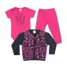 kit body bebe 3 pecas pagao cute animal pink e preto vestir com amor