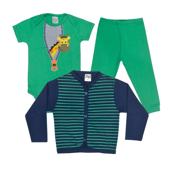 kit body bebe 3 pecas pagao girafa verde e marinho vestir com amor