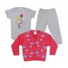 kit body bebe 3 pecas pagao urso mescla e vermelho vestir com amor