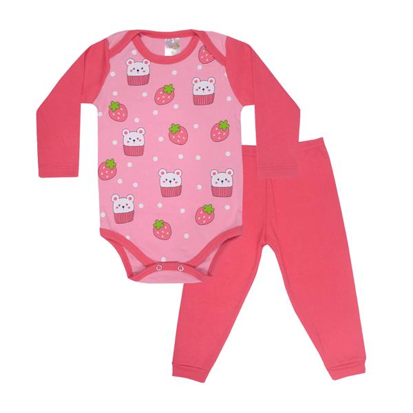 conjunto bebe body e calca pagao envelope morango coral e rosa dino kids