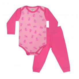 conjunto bebe body e calca pagao envelope borboleta chiclete e rosa dino kids