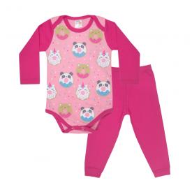 conjunto bebe body e calca pagao envelope donuts pink e rosa dino kids