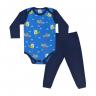 conjunto bebe body e calca pagao envelope dinossauro marinho e royal dino kids