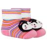 meias fun socks com pelucia de pinguim rosa winston
