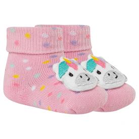 meias fun socks com pelucia de unicorinio rosa winston