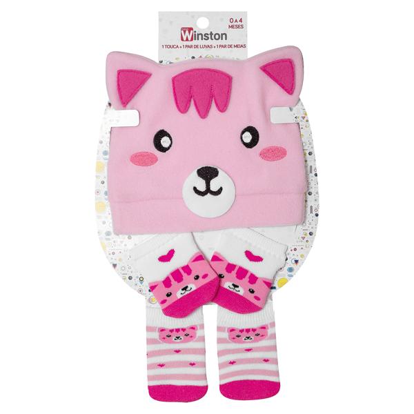 kit fun socks meias luvas e touca gatinha pink winston