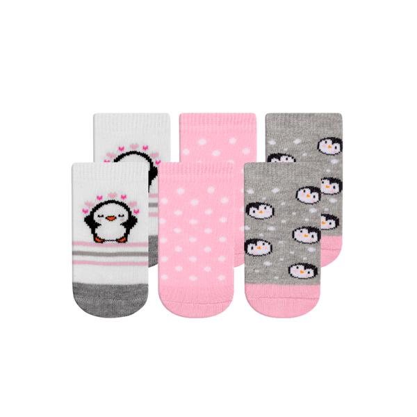 kit 3 meias fun socks bebe pinguim rosa winston
