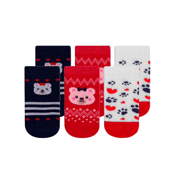 kit 3 meias fun socks bebe urso vermelho winston
