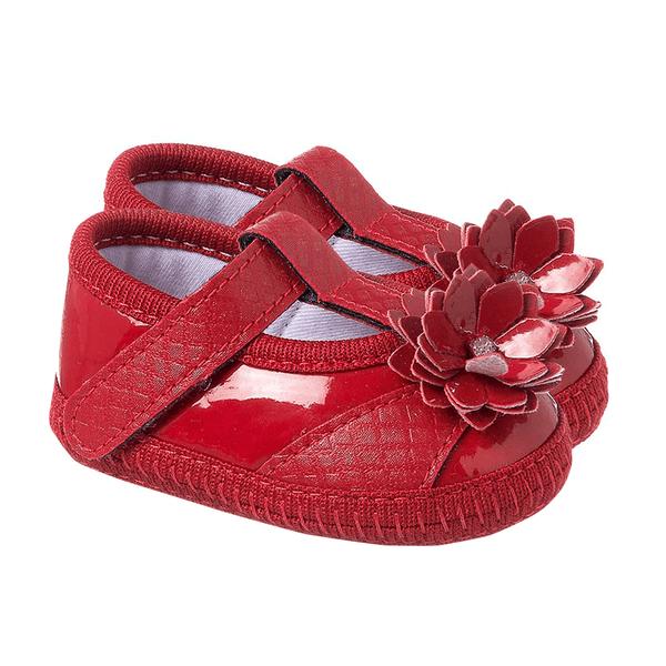 sapatilha bebe com flor vermelha keto baby