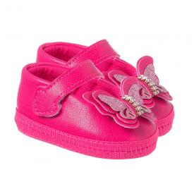 sapatilha bebe com borboleta pink keto baby