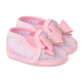 tenis bebe feminino com laco rosa keto baby