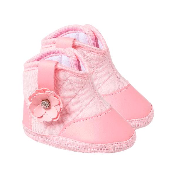 bota bebe feminino com flor rosa keto baby