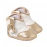 bota bebe feminino com flor dourado keto baby