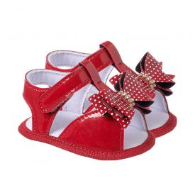 sandalia bebe com laco vermelho keto baby