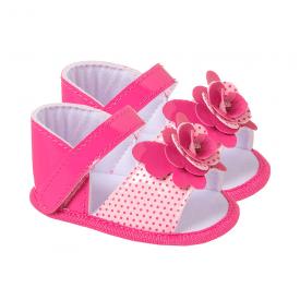 sandalia bebe com laco pink keto baby
