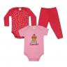 kit body bebe 3 pecas pagao cupcake vermelho e rosa vestir com amor