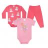 kit body bebe 3 pecas pagao urso coral e rosa vestir com amor