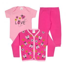 kit body bebe 3 pecas pagao joaninha pink e rosa dino kids