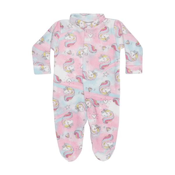 macacao bebe de boucle com pe abertura frontal unicornio rosa c canaa