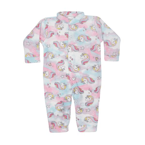 macacao bebe de boucle sem pe abertura frontal unicornio rosa c canaa