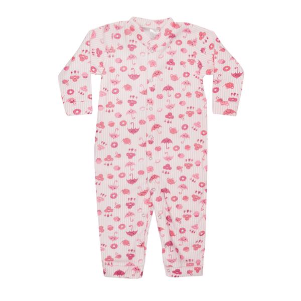 macacao infantil de boucle sem pe abertura frontal guarda chuva rosa c canaa