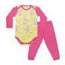 conjunto bebe body e calca pagao envelope nuvem pink e amarelo dino kids