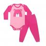 conjunto bebe body e calca pagao envelope urso pink e rosa dino kids